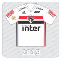 Camisa São Paulo FC 2019 -Adidas - Banco Inter - Urbano Alimentos - MRV - AOC - Patch Brasileirão 2019